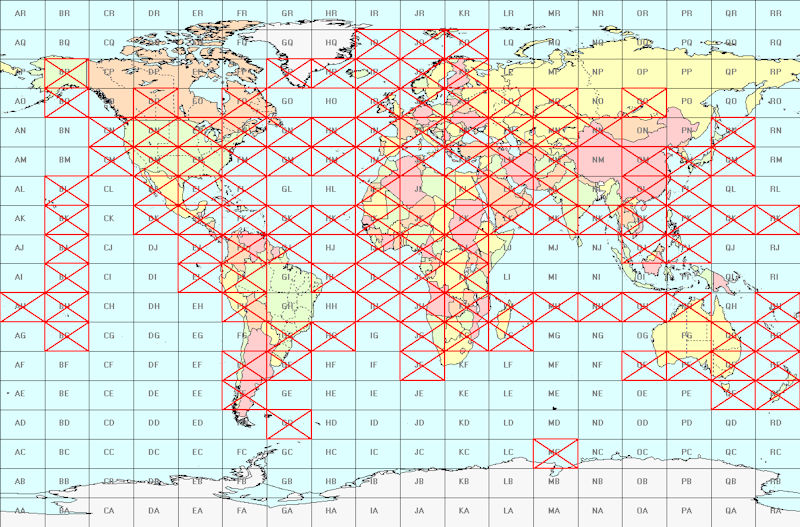 Fields worked by G8BCG on 6 m